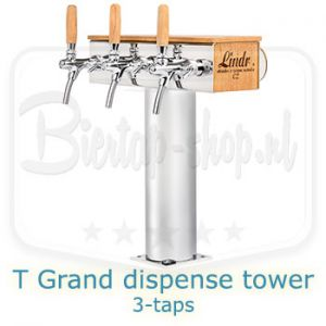 Lindr T grand Oakwood dispense tower 3 tap