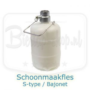 Schoonmaakfles 5 liter met S-adapter / Bajonet bierfustkoppeling