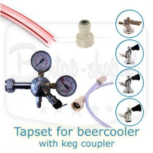 Tapset single for beercooler with keg coupler of choice