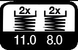 4 maal, 11 & 8 m