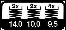 6 maal, 14, 10 & 9.5 m