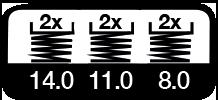 6 maal, 14, 11 & 8 m